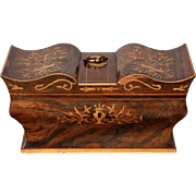 19th Century Antique Mahogany Sewing Box with Decorative Inlay