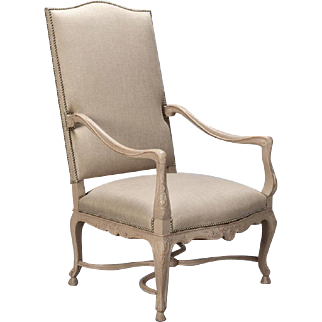 Tall French Arm Chair with Carved Painted Frame