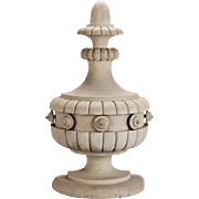 Tall Architectural Bleached Wood Flat Back Urn