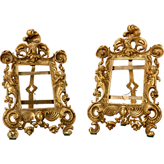 Pair of 19th Century French Elaborate Bronze Frames