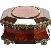 19th Century Rosewood Burr Walnut Box With Ormolu Mounts