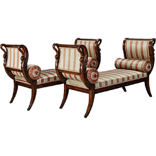 Pair French Empire Style Upholstered Swan Benches with Matching Pillows