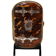 French Pique Tortoise Shell Coin Purse with Sterling Inlay