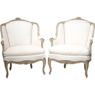 Pair French 19th Century Louis XV Painted Bergeres