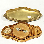 Apollo Studios Jeweled Ormolu Brass Lid Cambridge Glass Cosmetic Tray Vanity