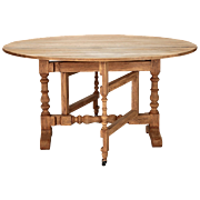Early 20th Century Bleached Oak English Drop-Leaf Table