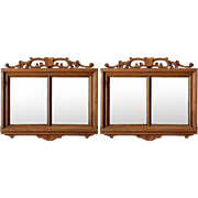Pair of French Bleached Double Pane Mirrors with Shield