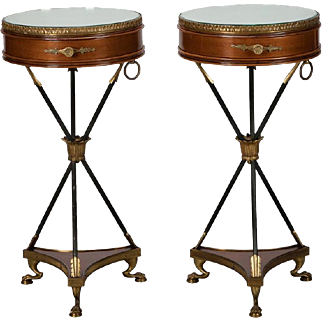 Pair French Neoclassical Round Mirror Top and Arrow Base Side Tables