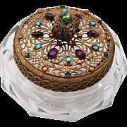 Vintage 1910 Signed Heisey Glass Jeweled Lid Trinket Vanity Dresser Powder Jar