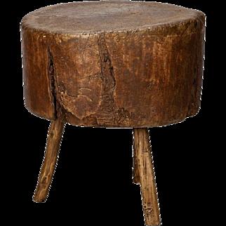19th Century Primitive Round Butcher Block Table