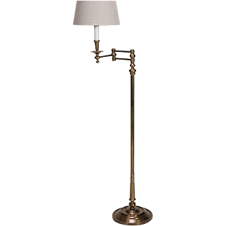 English Brass Swing Arm Library Floor Lamp