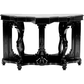 Italian Ebonised Mahogany Console with Mirrored Back