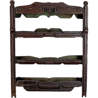 19th Century Hand-Carved European Tramp Art Wall Shelf