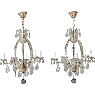 Pair of Italian Chandeliers with Round Beads and Original Beaded Canopies