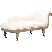 French Chaise Longue with Bleached Wood Frame