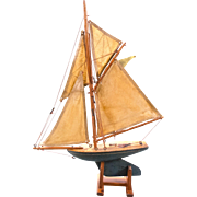 19th Century English Wooden Boat with Canvas Sails