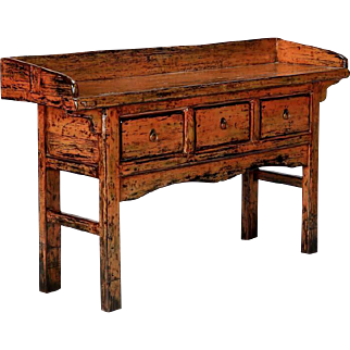 Chinese Painted and Lacquered Three-Drawer Console Table