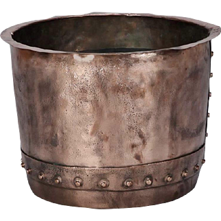 19th Century Large English Hammered Copper Pot