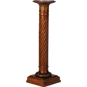 Tall English Carved Mahogany Column Pedestal Plant Stand