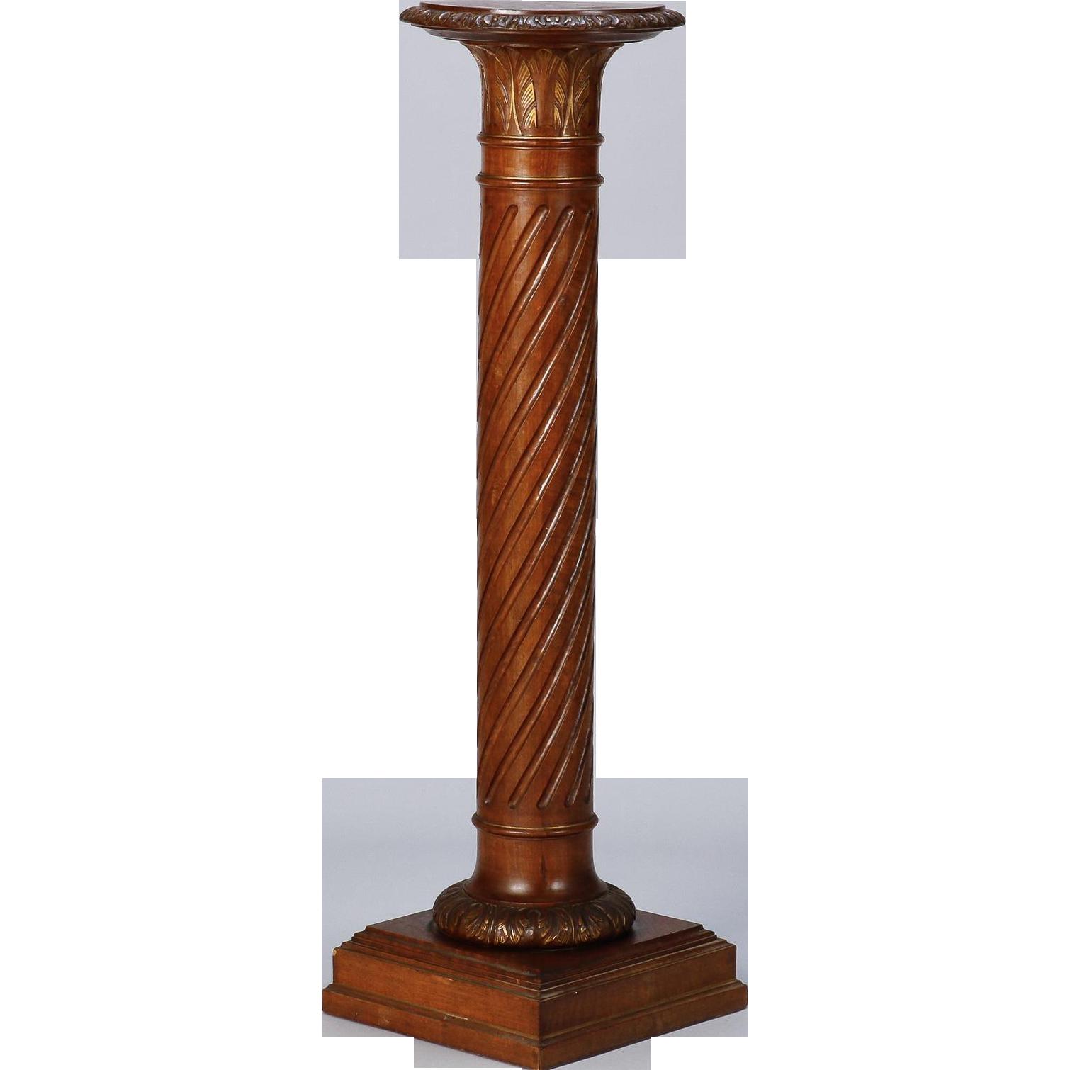 Tall English Carved Mahogany Column Pedestal Plant Stand From Judy - Column pedestal plant stand