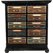 Late 19th Century French Ebonized Oak Linen Chest Commode or Chest of Drawers