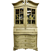 Dutch Bleached Oak Cupboard or Display Cabinet with Scrolled Top