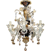 19th Century Venetian Gold Dust Glass Chandelier with Reverse Painted Details