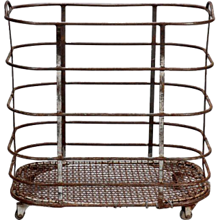 Antique French Industrial Metal Storage Trolley on Casters