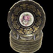 """Rosenthal 5956 Porcelain Gold Encrusted Raised Gilt Enamel Cobalt Floral Center 8"""" Soup Bowls Set of 12"""