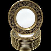 Rosenthal 'Continental 5442' Porcelain Gold Encrusted Raised Gilt Enamel Cobalt Dinner Plate Set of 12