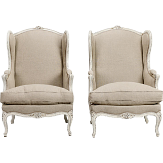 Pair of French 19th Century Linen Covered High Back Bergeres