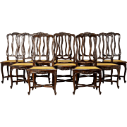Set of 10 French Louis XV Style Cane Dining Chairs with Removable Pads