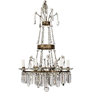 French Six-Light Empire Style Crystal Chandelier
