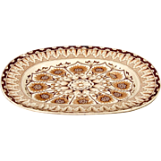 English Extra Large Brownfield & Son 'Cyprus' Tree and Well Meat Platter / Brown and White Transfer Ware