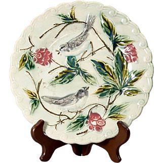 Antique French Onnaing Majolica Birds & Berries Dessert Plate