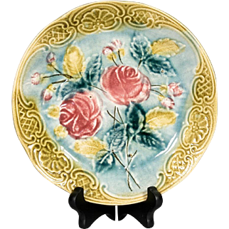 Antique Belgian Wasmuël Majolica Pottery Roses Plate
