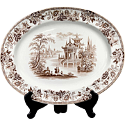 Antique English William Brownfield & Sons 'Madras' Pattern Brown Transfer Ware Serving Platter
