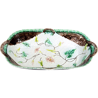 Antique French Majolica 'Morning Glory' Napkin Motif Oval Serving Bowl