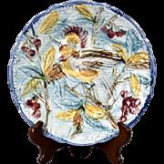 "19th Century Wasmuel of Belgium Majolica 'Bird of Paradise Cherry Tree' 8"" Dessert Plate"