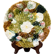 French Faiencerie of Orchies Strawberry of the Wood Barbotine Majolica Plate