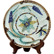 Antique French Faiencerie Majolica Butterfly & Blue Magic Flowers Plate