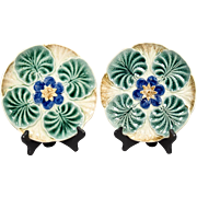 Antique Pair Wasmuel Belgium Majolica Oyster Plates Water Lily 1890