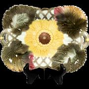 Antique Wedgwood Majolica Sunflower & Leaves Platter