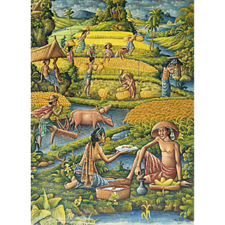 Traditional Landscape Painting From Bali, Indonesia