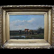 Dutch Painting: Cows Grazing Landscape by Old Master, Simon van den Berg