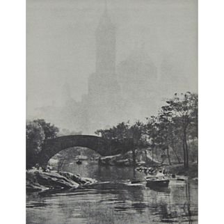 Photogravure by Edward Alenius: Central Park Lake