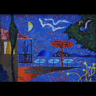 Painting by Yohanan Simon (1905-1976): Good Night