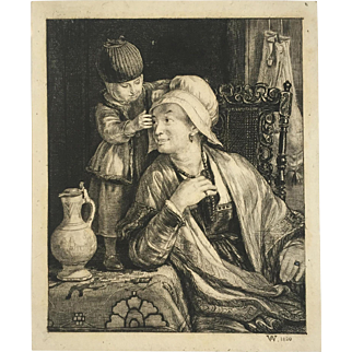 Etching: The Flemish Mother by Sir David Wilkie
