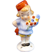 Antique Half Doll Full Figure Little Boy with Flowers, PIN CUSHION