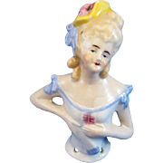 Antique Half Doll Coy Pin Cushion Wearing Hat and Holding Fan